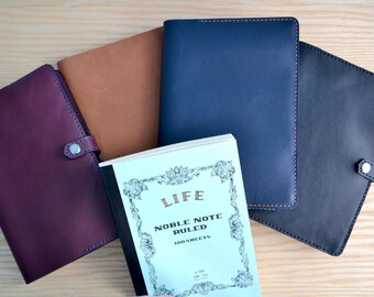 Life Noble Note leather cover | Snap closure, 4 Horween leather colours, all sizes | Journal refillable sleeve