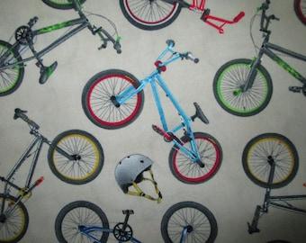 BMX Racing Bike Extreme Sport Bicycle Helmets Cream Cotton Fabric Fat Quarter Or Custom Listing