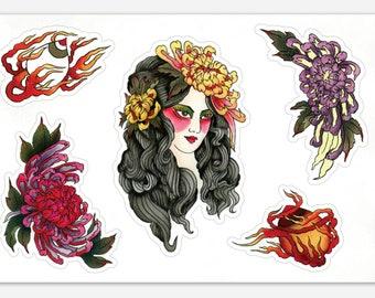 Tattoo Flash Chrysanthemum Girl Sticker Sheet