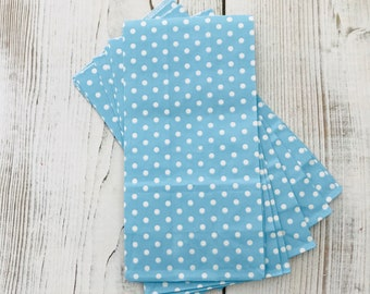 Blue polka dot Paper bag, set of 10 - Blue Treat bags - SOS blue party bags - Candy buffet treat bags - Blue Polka Dot party bags - Blue Dot