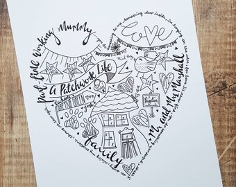 A4 Hand drawn personalised heart doodle