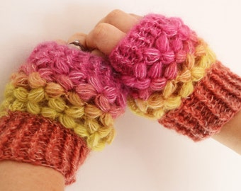 Handmade delicate puff stitch crochet fingerless gloves.  Lacey and delicate crochet mittens in bright Mohair, Wool and Acrylic mix lace.