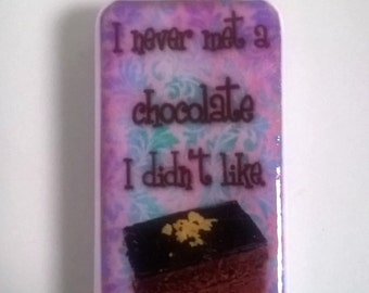 Chocolate, pink, purple, keyring, chocoholic bag charm, dominoes, pendant, necklace, altered art