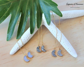 Crescent Moon Druzy Gold Threader Earrings / Dainty Gold Filled Threader Earrings / Crescent Moon Dangle Earrings / Bohemian