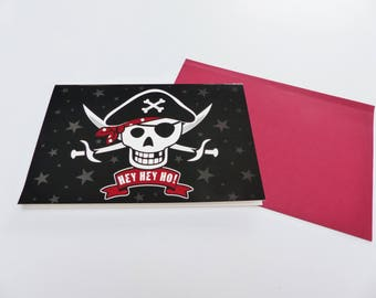 pirate skull sword Hey hey ho card folded card with envelope