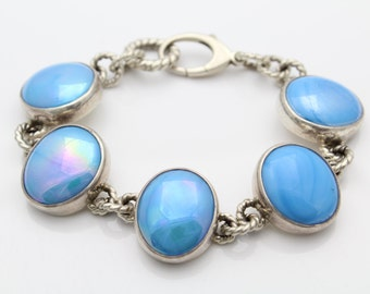 "Bold Artisan Sterling Silver and Blue Pearlized Cabochon Statement Bracelet 7.5"". [5498]"