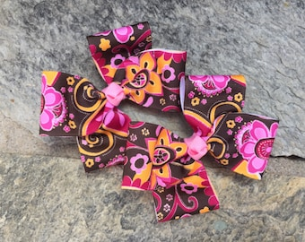 Floral Hair Bows,Pigtail Hair Bows,Toddler Hair Bows,French Barrettes,4.5 Inches Wide,Birthday Party Favors