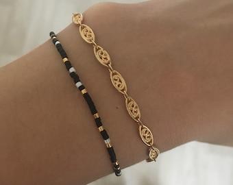 Set of 2 Golden miyuki and chain bracelets