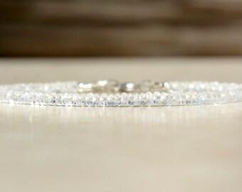 June Birthstone Bracelet, Rainbow Moonstone Bracelet, Beaded Gemstone Bracelet, Birthday Gift For Her, Birthstone Bracelet, Stack Bracelet