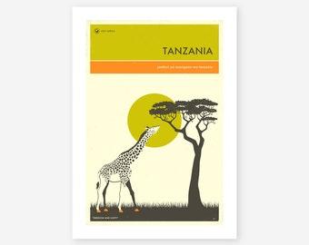 TANZANIA TRAVEL POSTER (Giclée Fine Art Print/Photo Print/Poster Print) by Jazzberry Blue