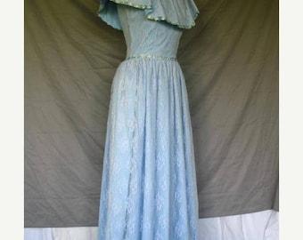 On Sale 1960's Light Blue Victorian Style Southern Belle Dress