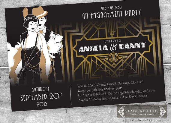 Great Gatsby Engagement Party Invitations Movie poster style