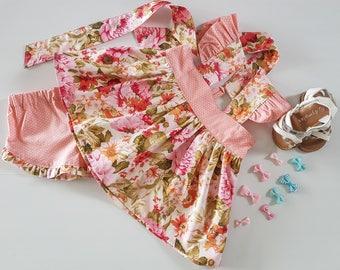 Pink Floral Top And Shorts, Pink Polka Dots, Girls Short And Top Set, Pink Toddler Shorts And Pink Toddler Top