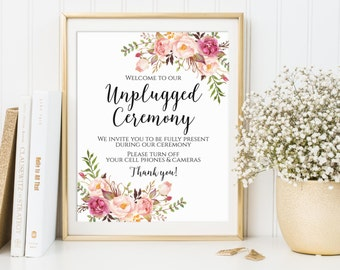 Unplugged Ceremony Sign, Unplugged Wedding Sign, Unplugged Sign, No Phones Sign, No Cameras Sign, No Cell Phone Sign, Printable Sign, C1