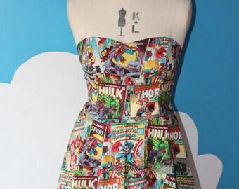 marvel comic book sweet heart dress - avengers