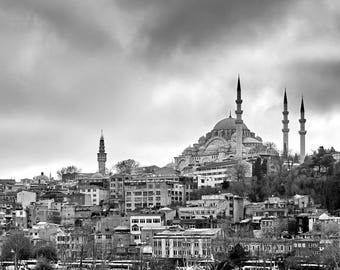 black and white photograph of the Suleymaniye Mosque shot from the top of the Galata Tower