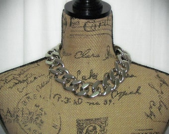Ultra Chunky Curb Chain Necklace in Silver or Gold