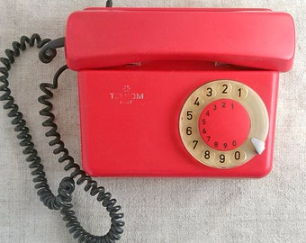 Red rotary phone Dial desk phone Home retro telephone Old office phone Urban home decor Vintage gadget Found object decoration Collectible