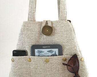 beige purse, handmade handbag, beige tote bag, fabric purse , beige shoulder bag,  vegan bag, multi pocket bag, top handle bag, pocket purse