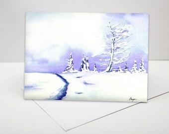Lavender Trees Winter Landscape Painting Art Card