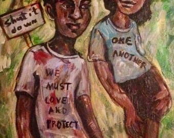 We Must Love And Protect One Another - Color Print ( Painting)