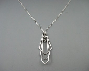 Art Deco Necklace - minimalist geometric necklace with sterling silver chain, engineer or math teacher gift - Tiered Fan