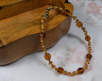 Beaded Micro Macrame ANKLET Spirals Small Medium Amber Gold