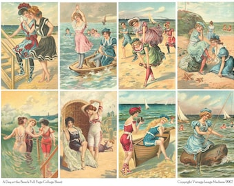 A DAY at the BEACH Vintage Postcards - Instant Download Digital Collage Sheet