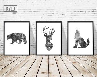 "Animal Print Set 3 11x14"", Bear Print, Deer Head Print, Wolf Print, Illustration, Printable Art, Digital Print, Modern Art, Instant Download"