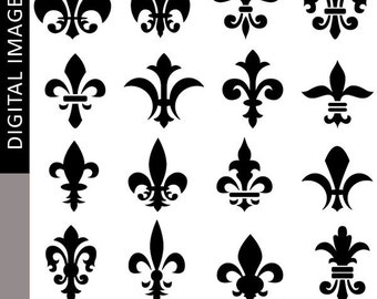 Fleur de lis silhouette clipart - decorative element fleur de lis clip art - digital images, commercial use