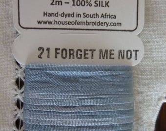 House of Embroidery collar 21 FORGET ME NOT 7mm Silk Ribbon