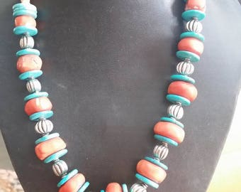 Turquoise & apple coral necklace.