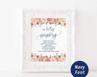 Printable In Loving Memory Sign Template, Navy Memorial Table Sign, Pink Floral Wedding Sign, Editable, 2 sizes PDF Download #103 #112