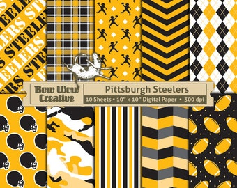 10 Pittsburgh Steelers Pattern Digital Papers for Scrapbooking, Invitations, Cards,  Graphic Design, Paper Crafts, instant download, paper