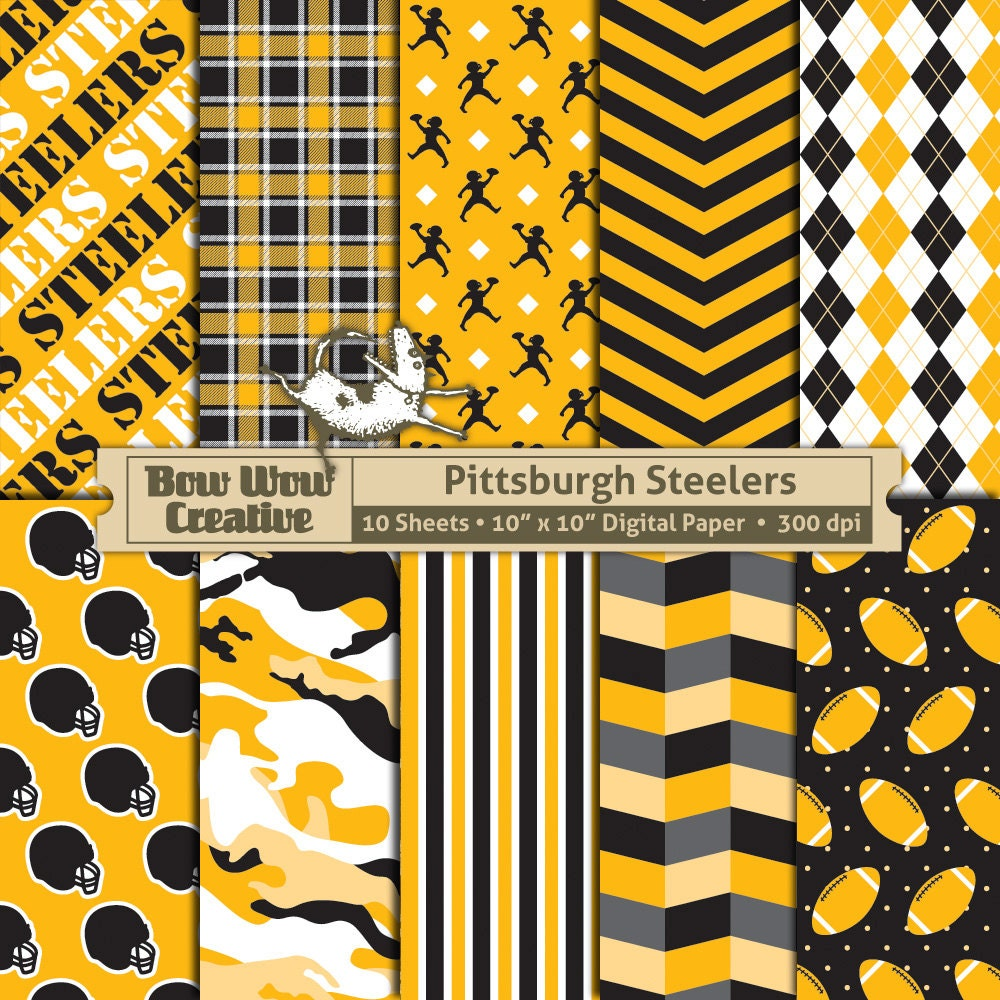 10 Pittsburgh Steelers Pattern Digital Papers for