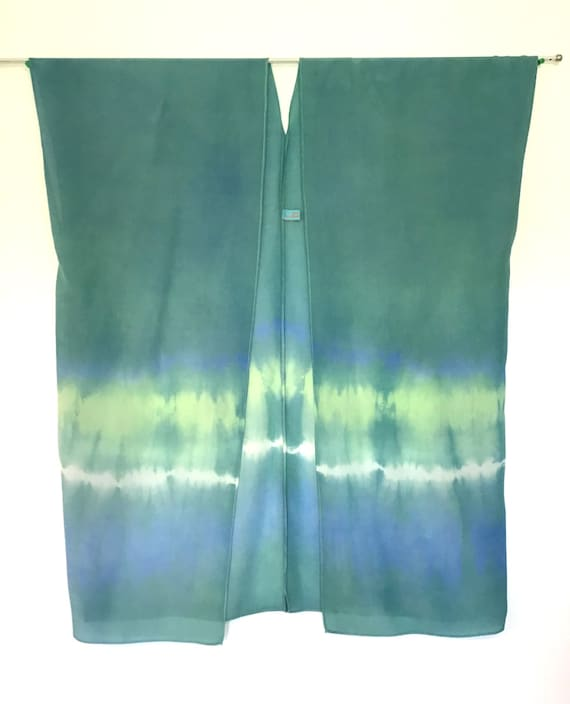 Silk Kimono - Hand Dyed Silk - Soft Teal Green with Bands of Lime, White and Turquoise in Elegant Silk Crepe -Size S-XL