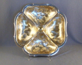 Ikora WMF 4-Sectioned Metal Dish // Made in Germany // Silver Plate Over Brass // Tarnish Resistant // Candy Tray // Knob Handle