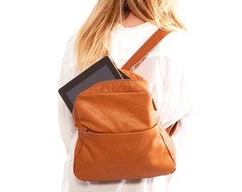 Small leather Backpack, Brown lightweight leather bag womens small Backpack leather backpack women travel bag - Batia bag handmade