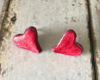 Heart earrings, Red heart earrings, Heart studs, Love heart jewellery, Red clay heart earrings, gift for her, Heart earrings