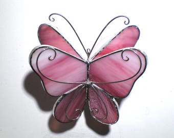 Pretty in Pink - 3D Stained Glass Butterfly Twirl -  Small Pink Home Garden Decoration Hanging Suncatcher Yard Art Insect (READY TO SHIP)