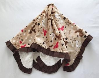 Baby Blanket Cowboys Minky Corduroy Ruffle Medium Size Brown Red Beige