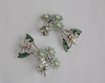 Vintage Light Blue Flower and Insect Bug Clip Earrings