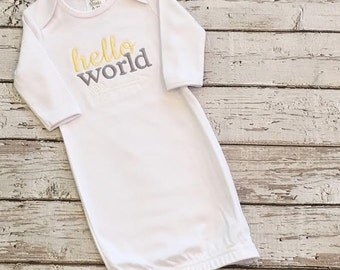 Hello world embroidered baby gown. New baby present. Baby shower gift. Gender neutral baby shower. Baby girl Baby Boy. Infant pictures.