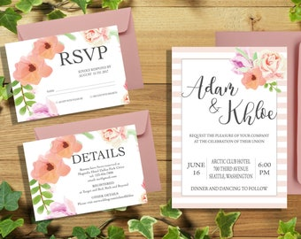 """Watercolor wedding invitation