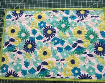 Blue & Lime Green Modern Floral Quilted Placemats