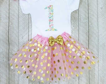 Floral first birthday outfit Floral 1st birthday outfit Pink and gold first birthday outfit Flower first birthday outfit Flower 1st birthday