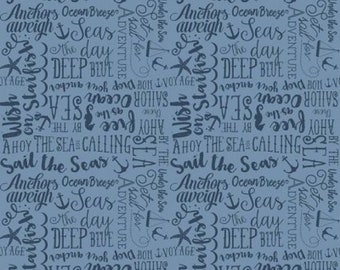 By The Sea by Dani Mogstac for Riley Blake -- Sea Story Blue -- 1/2 Yard