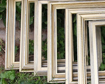 Gold Picture Frame Set of Three 8x10 Vintage Hand Painted & Distressed