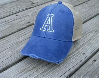 Personalized Distressed Trucker Hat with any letter initial - snap back baseball hat with letter 12 hat colors
