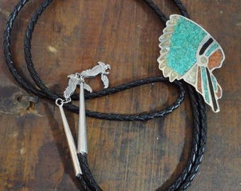Excellent Vintage STERLING Silver BOLO TIE Turquoise & Coral Chip Chief Signed